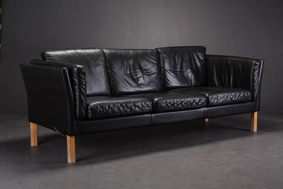 Schwarzes dänisches Vintage 3-Sitzer Ledersofa