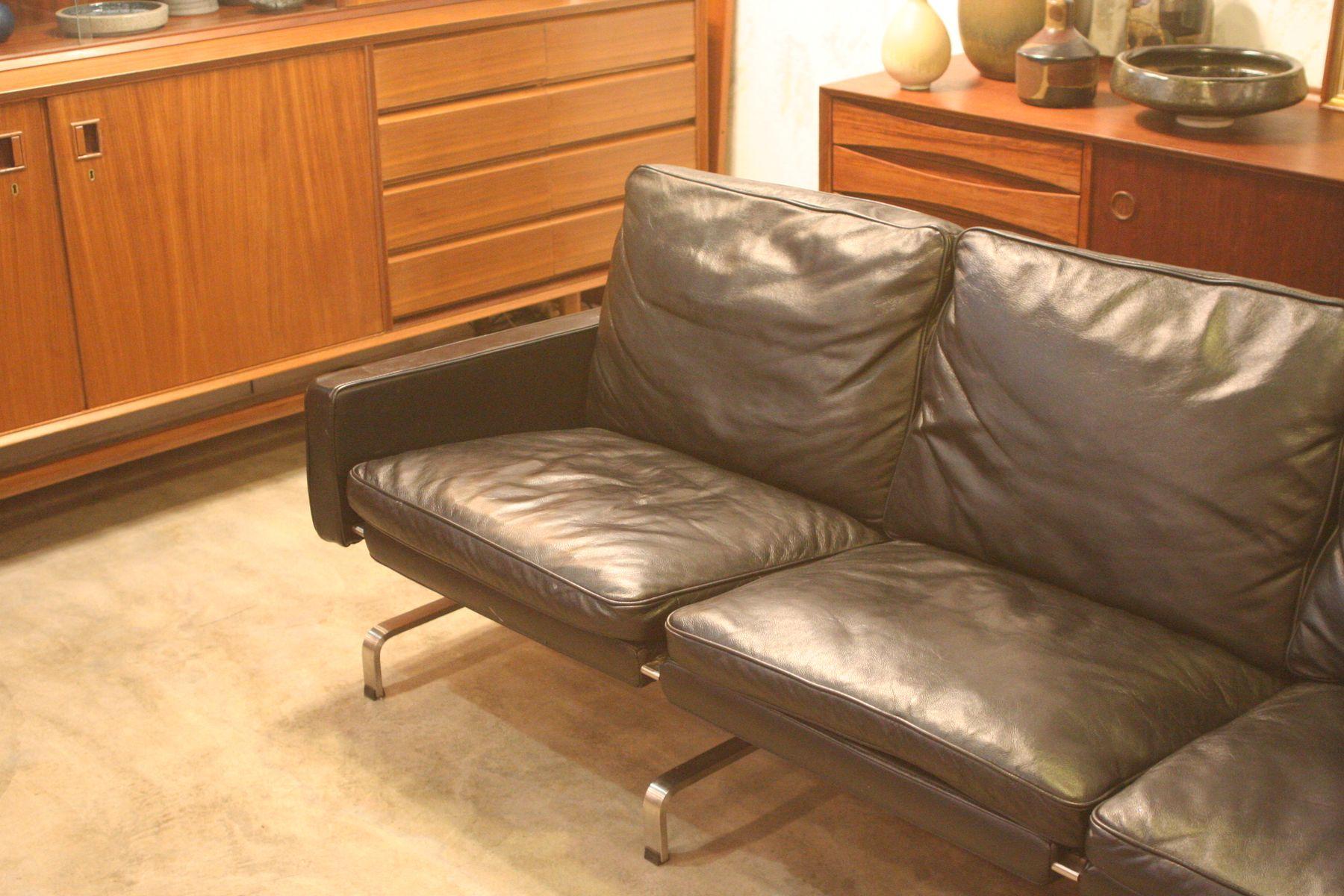 Mid century 3 sitzer sofa aus leder bei pamono kaufen for Sofa 3 5 sitzer