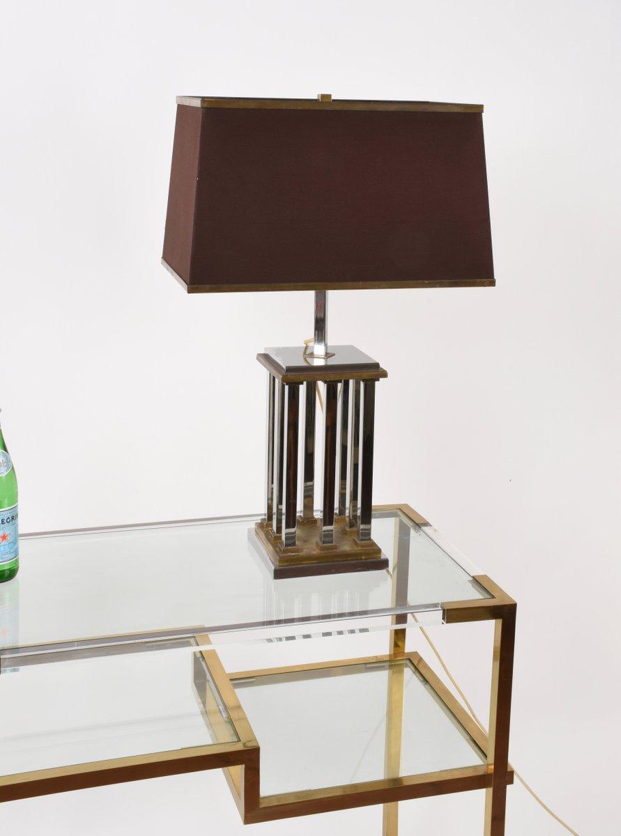 lampe de bureau en laiton et m tal chrom par romeo rega 1970s en vente sur pamono. Black Bedroom Furniture Sets. Home Design Ideas