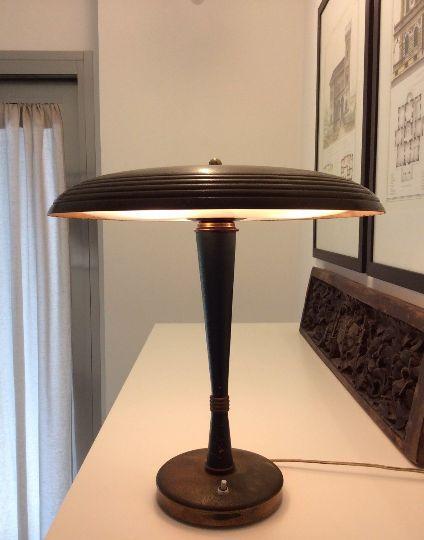 Vintage Messing Tischlampe von Lumi