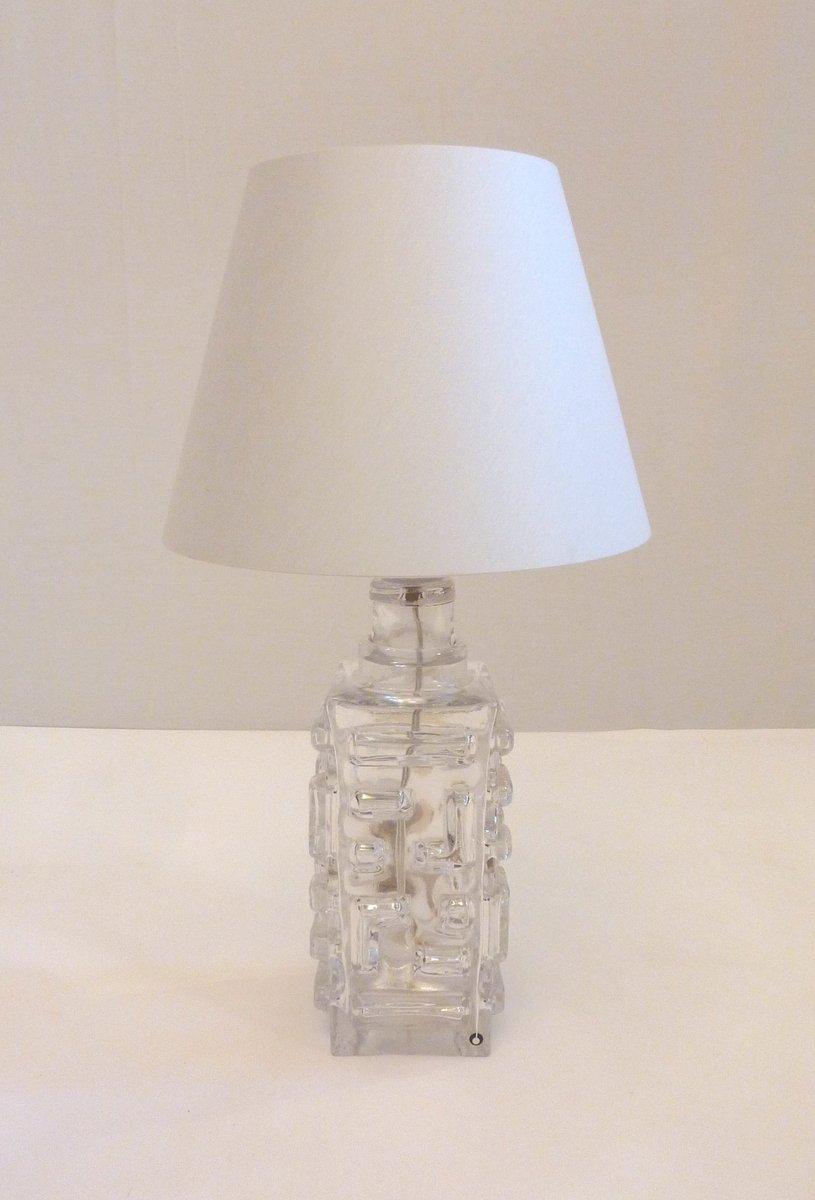 Schwedische Glas Tischlampe von Pukeberg