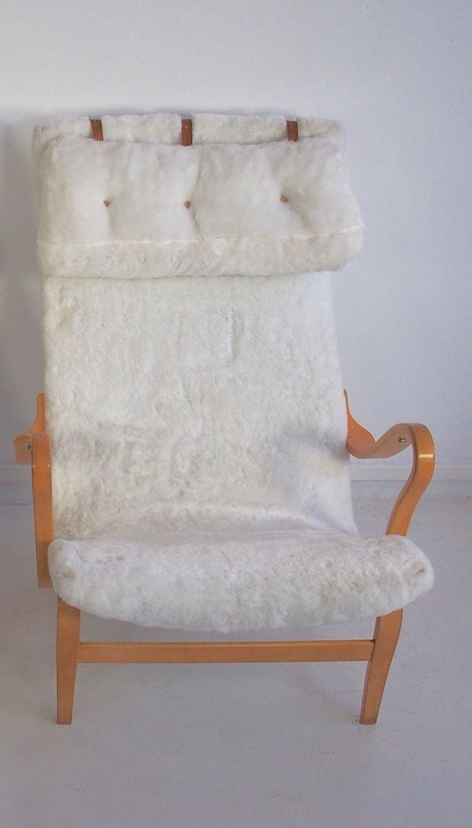 chaise pernilla mid century en fausse fourrure blanche par bruno mathsson pour dux 1970s en. Black Bedroom Furniture Sets. Home Design Ideas
