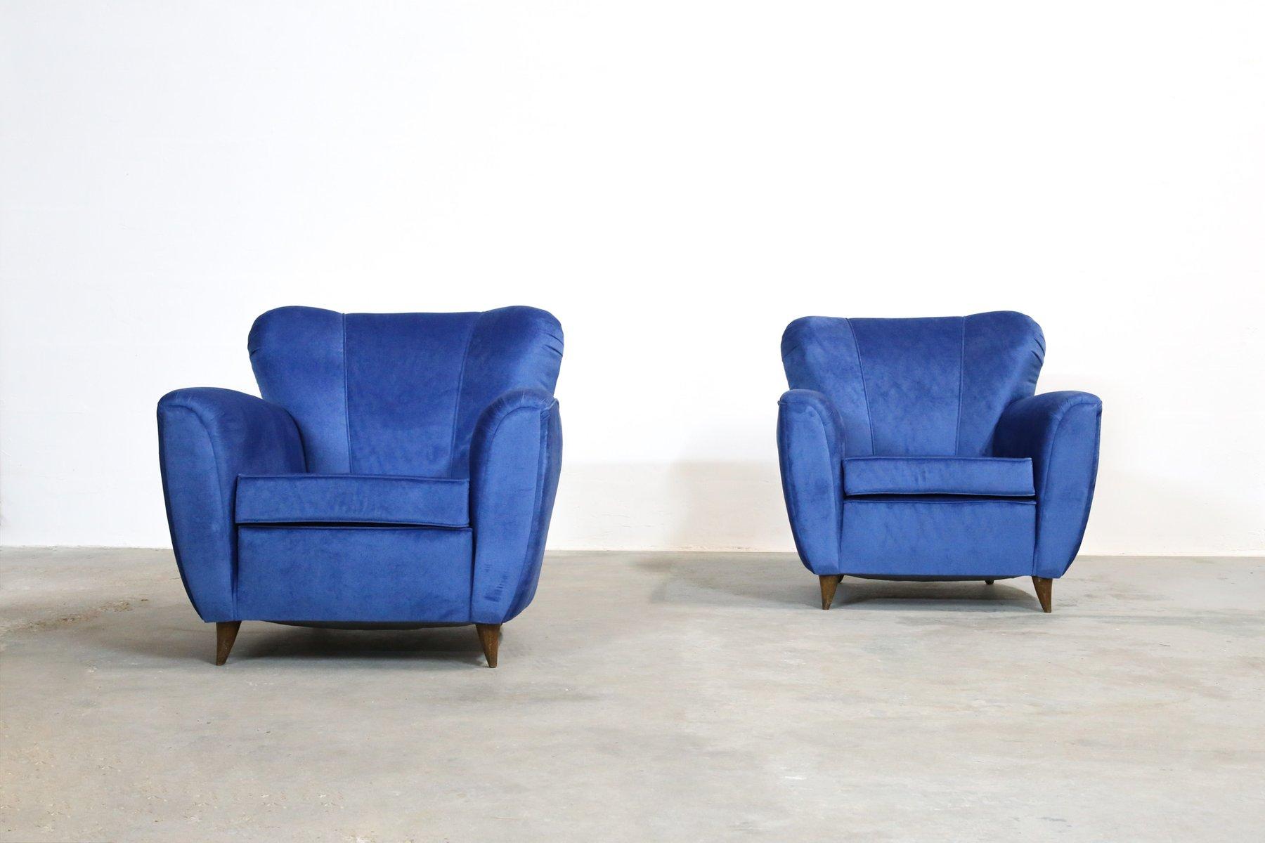 Poltrone vintage blu italia anni 39 60 set di 2 in - Poltrone vintage design ...