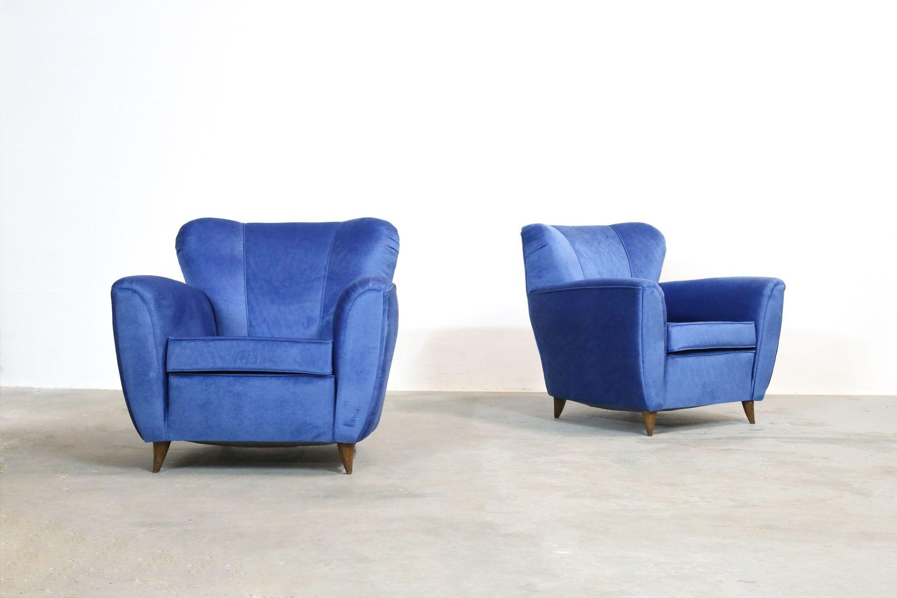 italienische blaue vintage sessel 1960er 2er set bei pamono kaufen. Black Bedroom Furniture Sets. Home Design Ideas