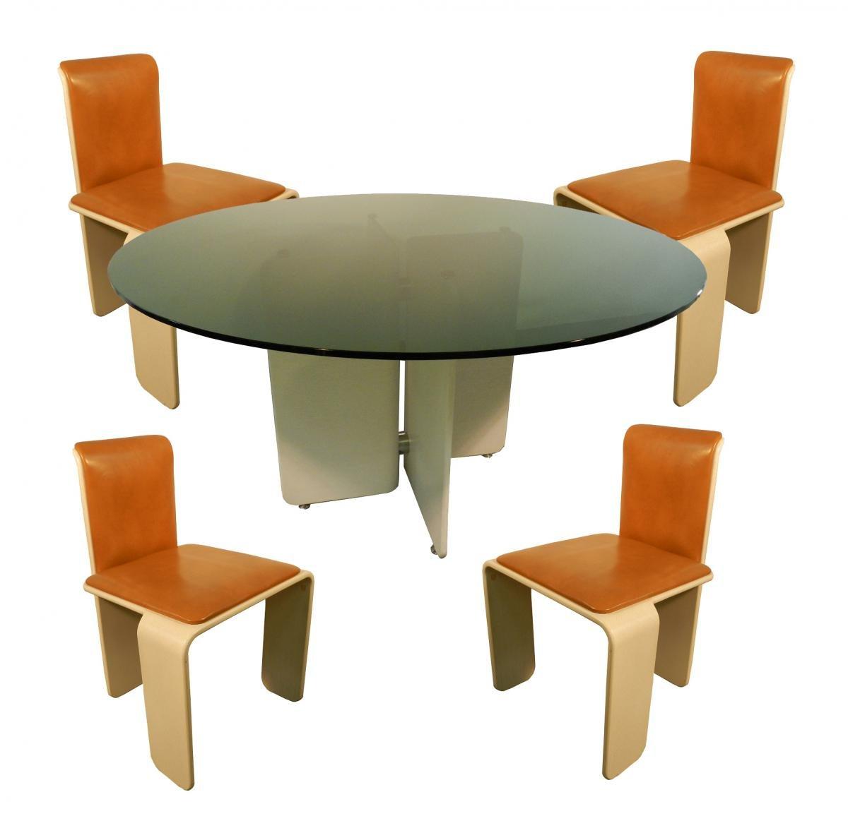 Französische Holz & Metall Esszimmergarnitur, 5er Set