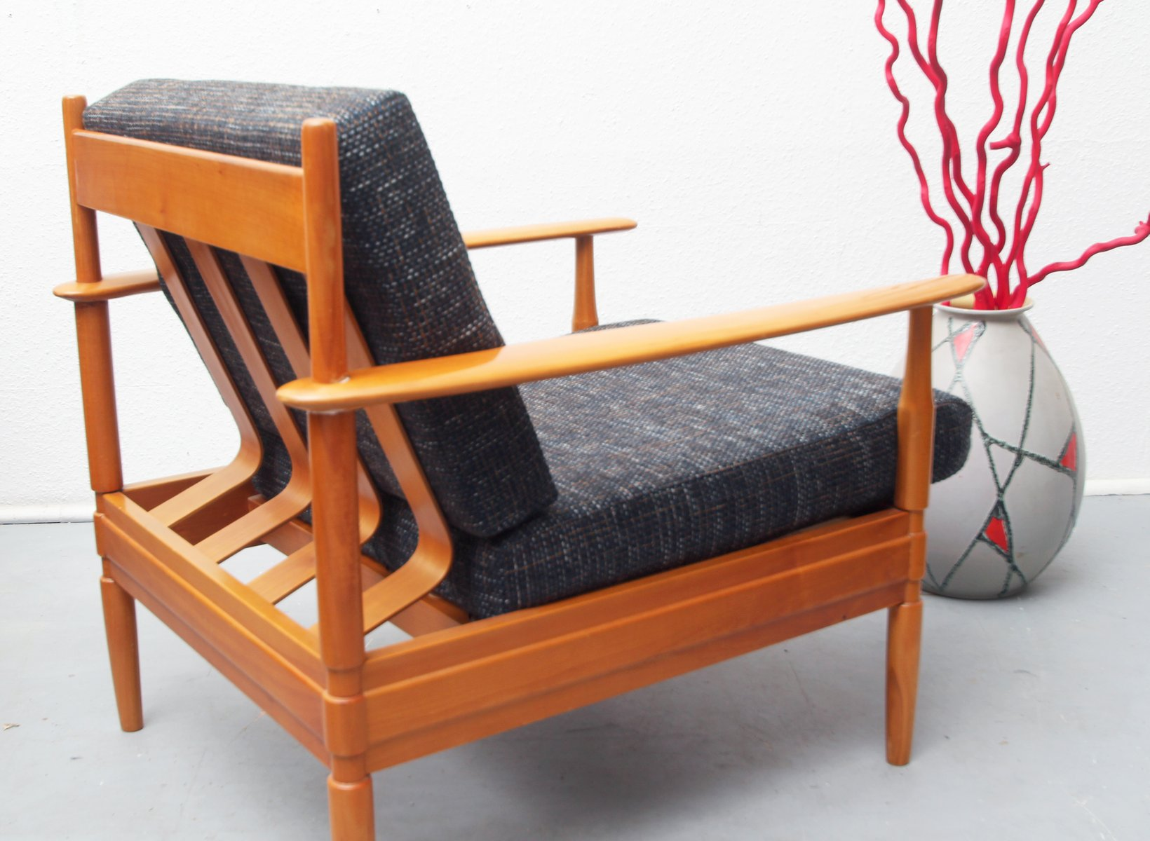 Merveilleux German Cherry Wood Lounge Chair, 1960s