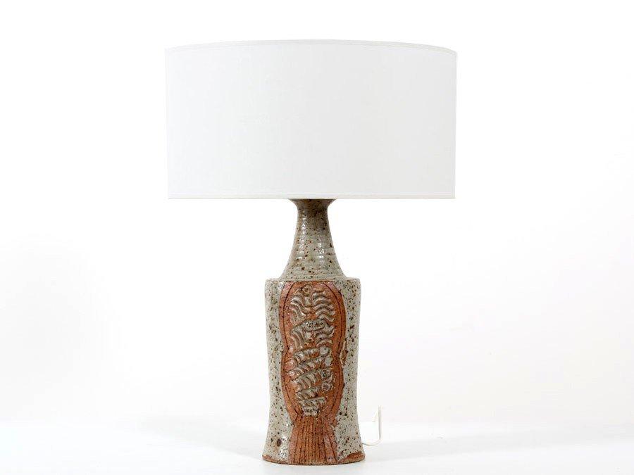 Skandinavische Keramik Tischlampe von Lene Regius
