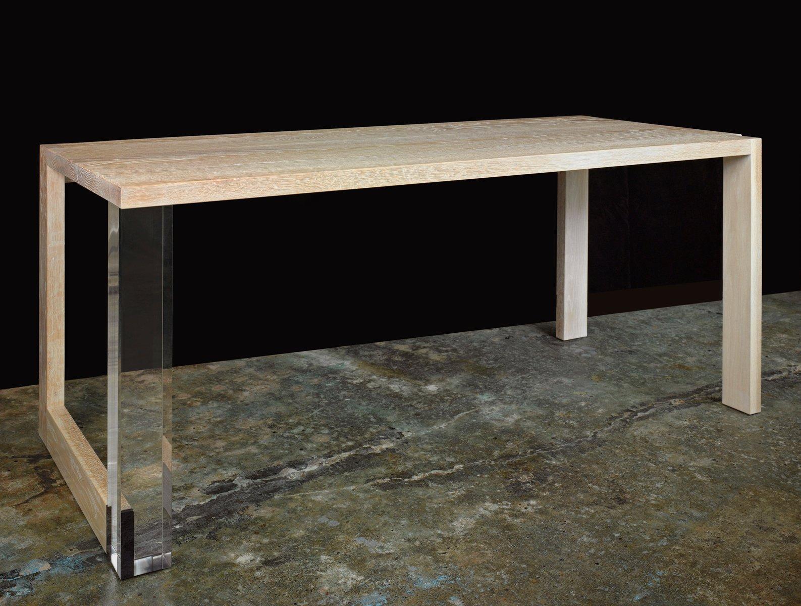 Tisch aus gekalkter Eiche und Plexiglas von Paul Kelley