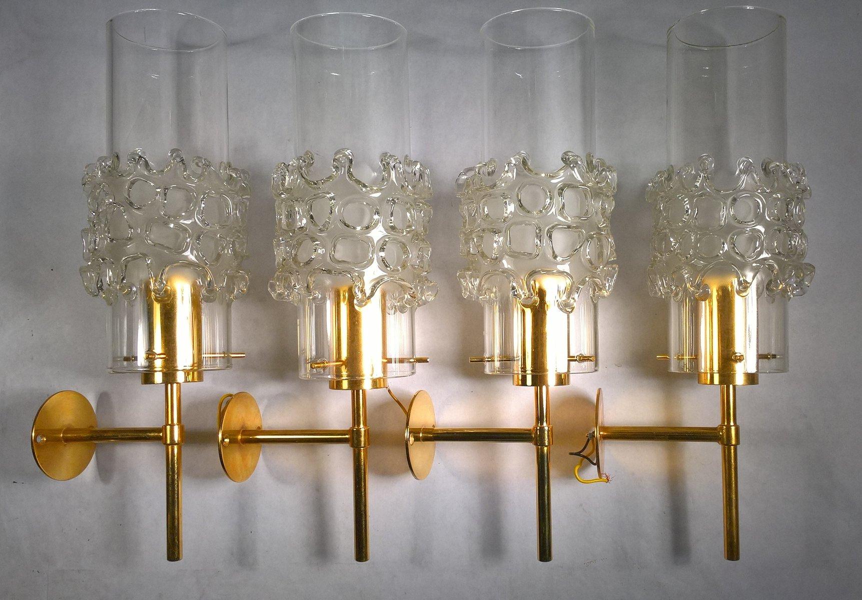 Vergoldete Wandlampen aus mundgeblasenem Glas von Fällander Glas, 1970...