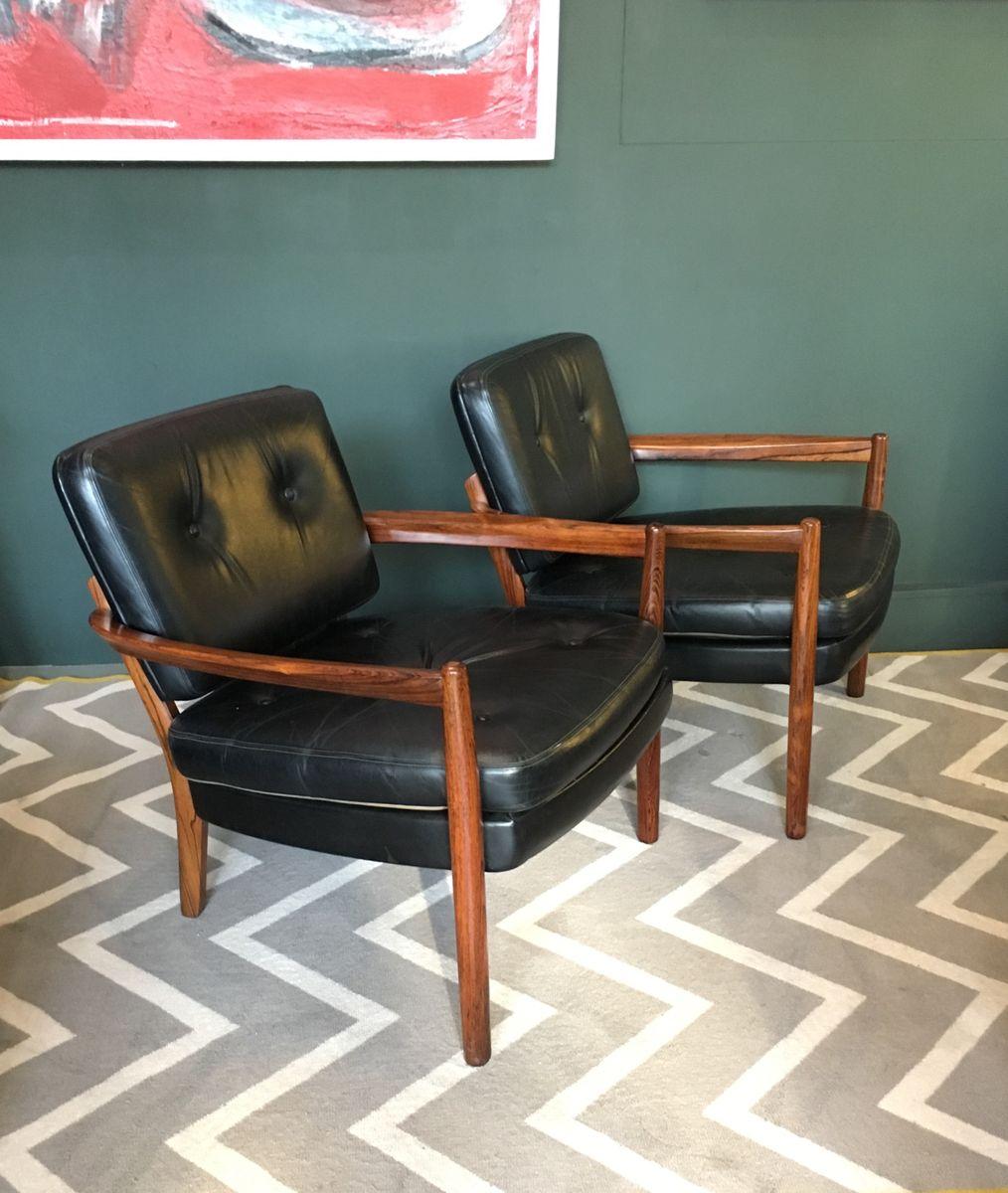 Palisander und Leder Sessel, 1960er, 2er Set