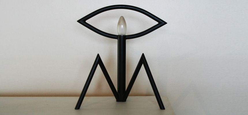 Tischlampe aus Schwarzem Metall von Stefan Bumm