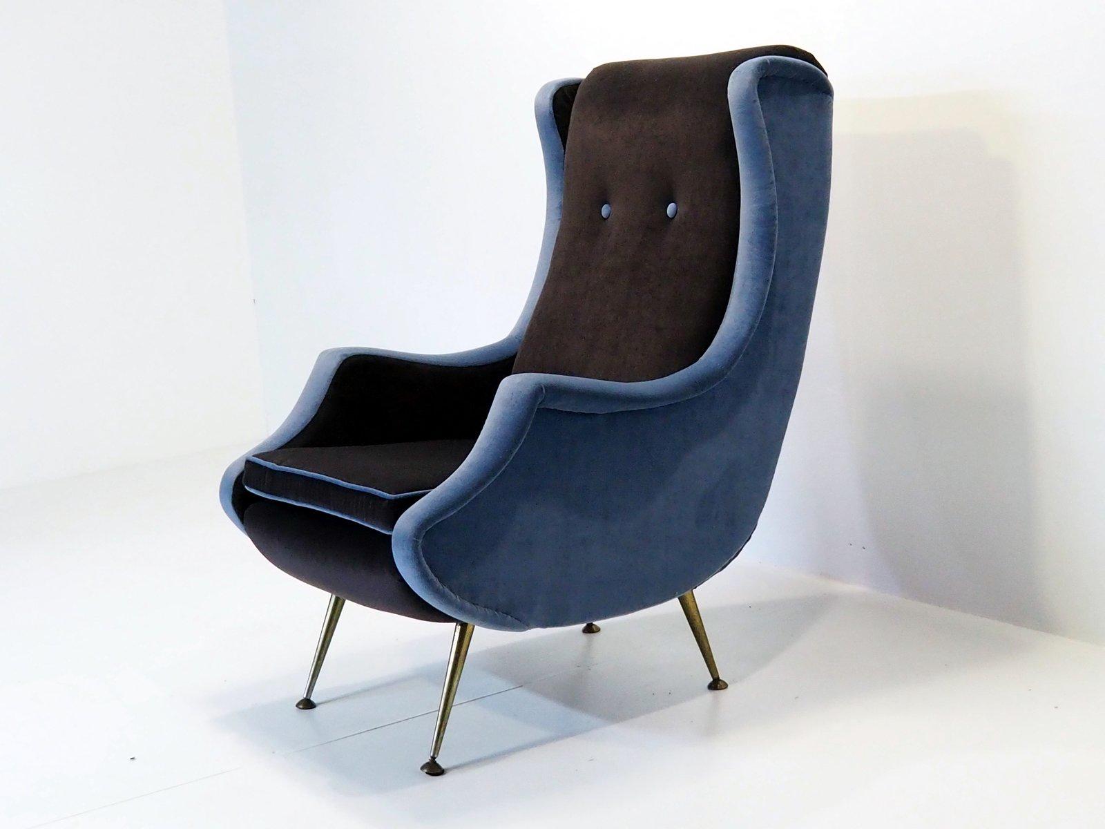 Französischer Vintage Sessel aus Samt, 1950er