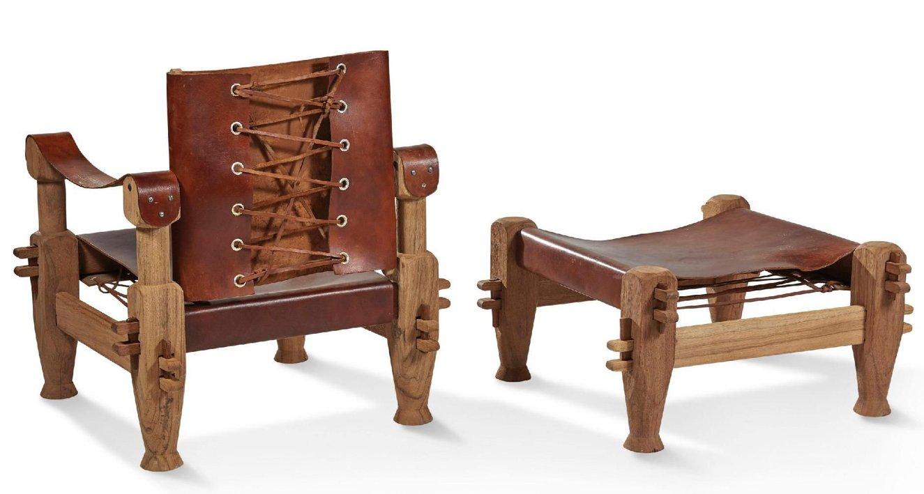 Brasilianischer Armlehnstuhl & Fußhocker mit Schnürung aus Hirschleder...