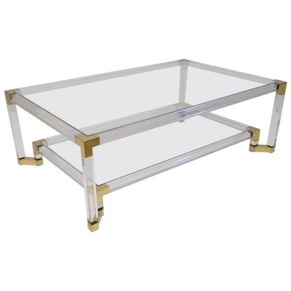 Vintage Lucite And Brass Two-Tiered Coffee Table For Sale