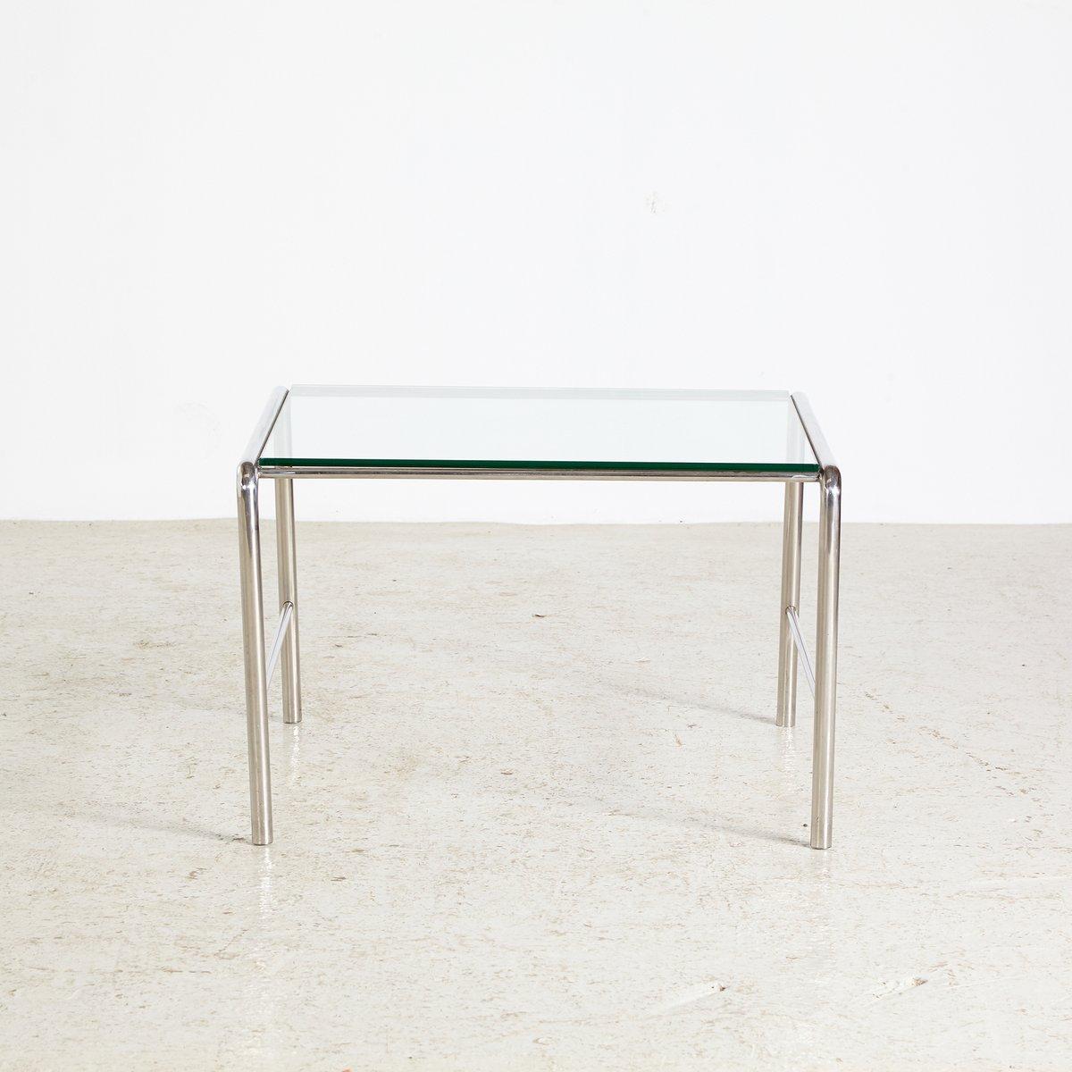 table basse lc3 vintage avec cadre en chrome et plateau en verre par le corbusier pour cassina