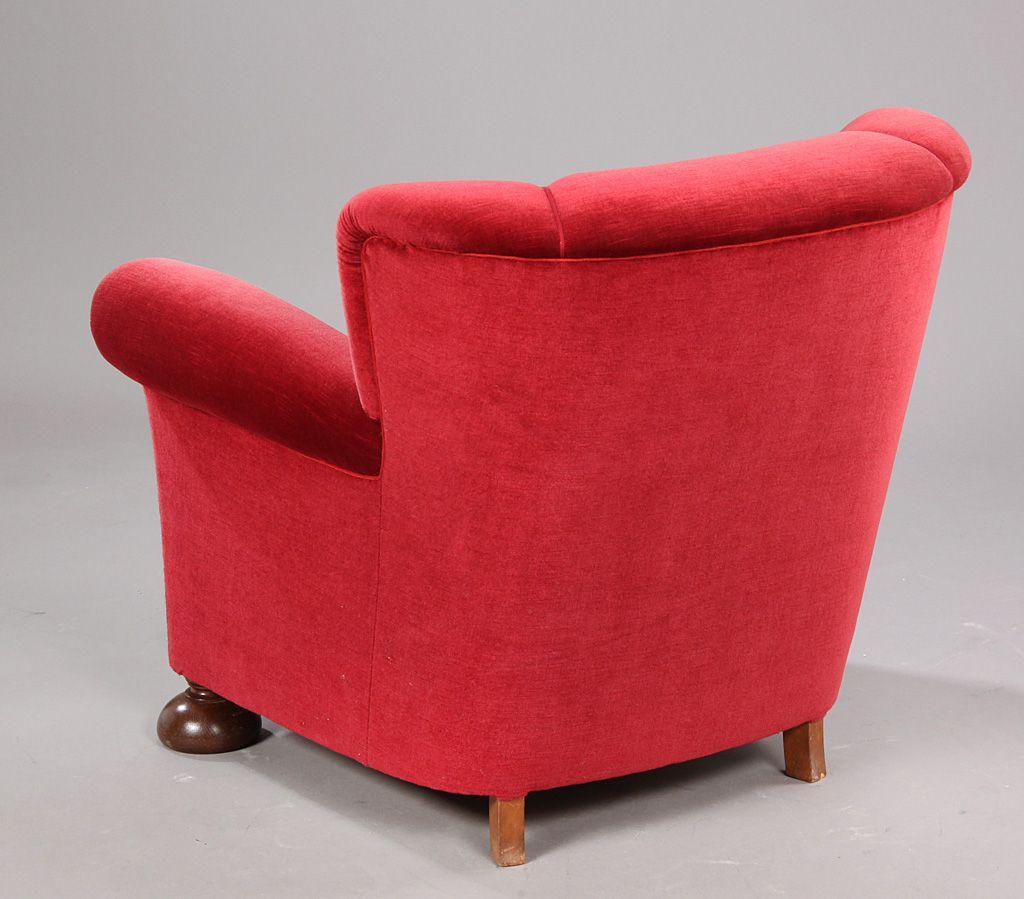 d nischer vintage sessel in rot 1940 bei pamono kaufen. Black Bedroom Furniture Sets. Home Design Ideas