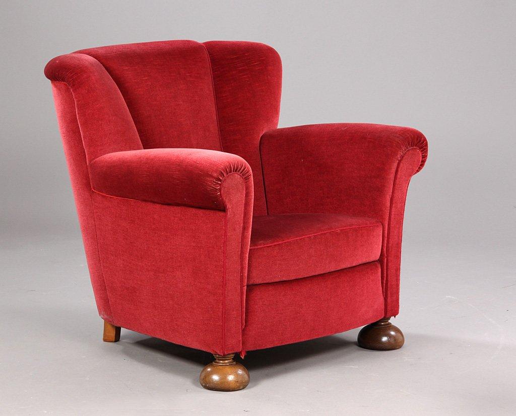 Dänischer Vintage Sessel in Rot, 1940