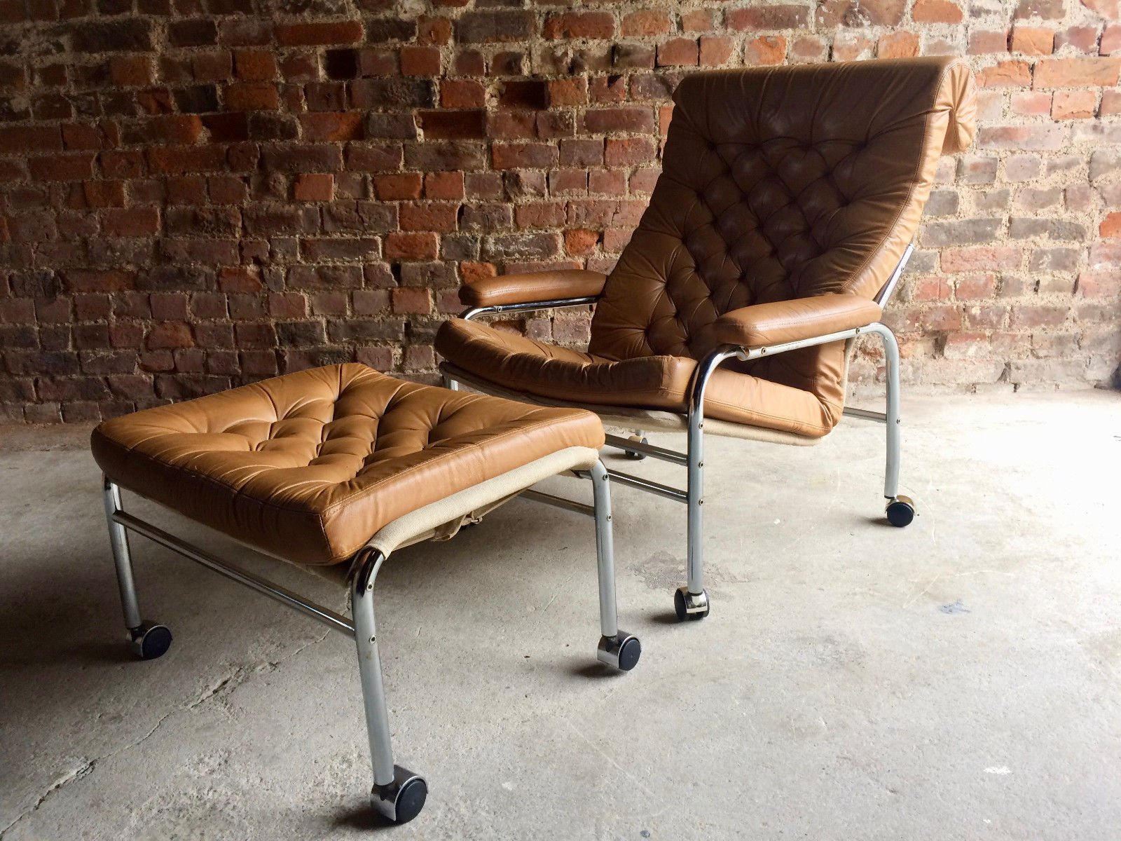 bore leder sessel fu hocker von noboru nakamura f r ikea 1970er bei pamono kaufen. Black Bedroom Furniture Sets. Home Design Ideas