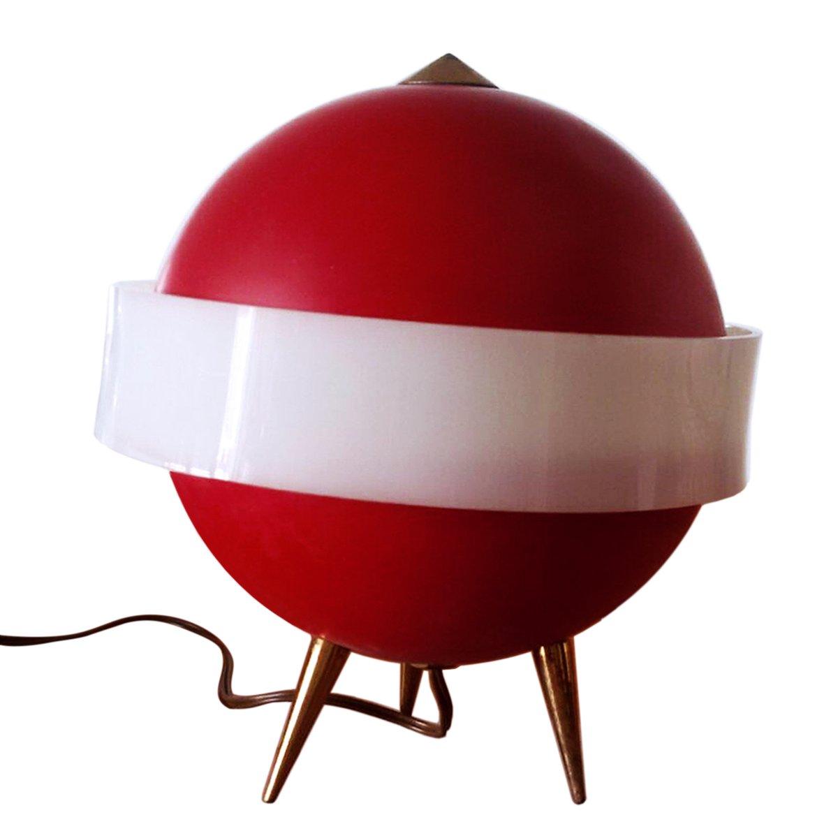 Italienische rote Mid-Century Tischlampe von Angelo Brotto für Esperia...