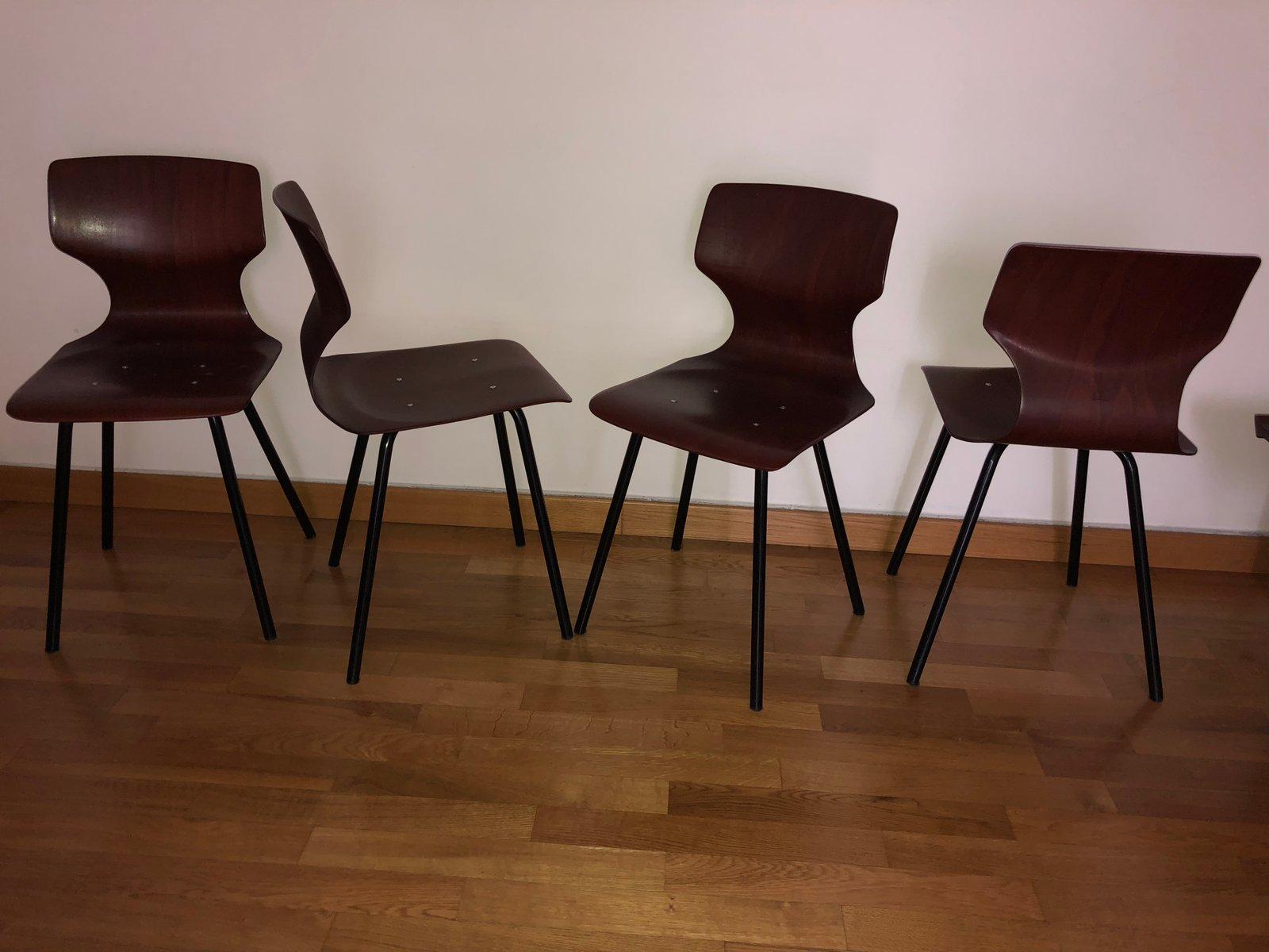 nr 4 st hle von pagholz fl totto 1960er 4er set bei pamono kaufen. Black Bedroom Furniture Sets. Home Design Ideas