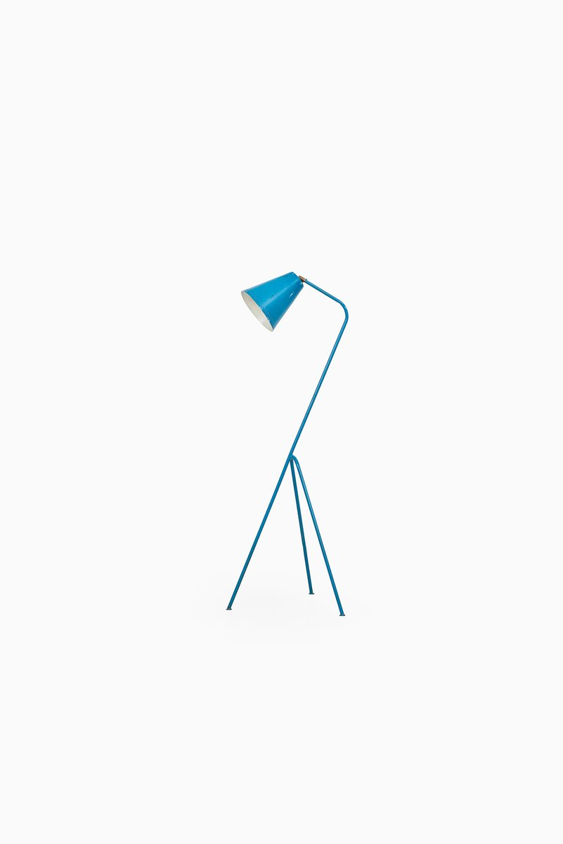 Blaue Mid-Century Stehlampe