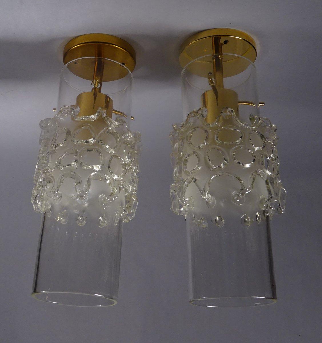 Vergoldete Deckenlampen aus mundgeblasenem Glas von Fällander Glas, 19...