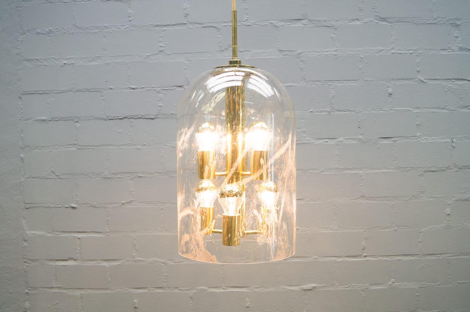 Glas Deckenlampe von Doria, 1960er