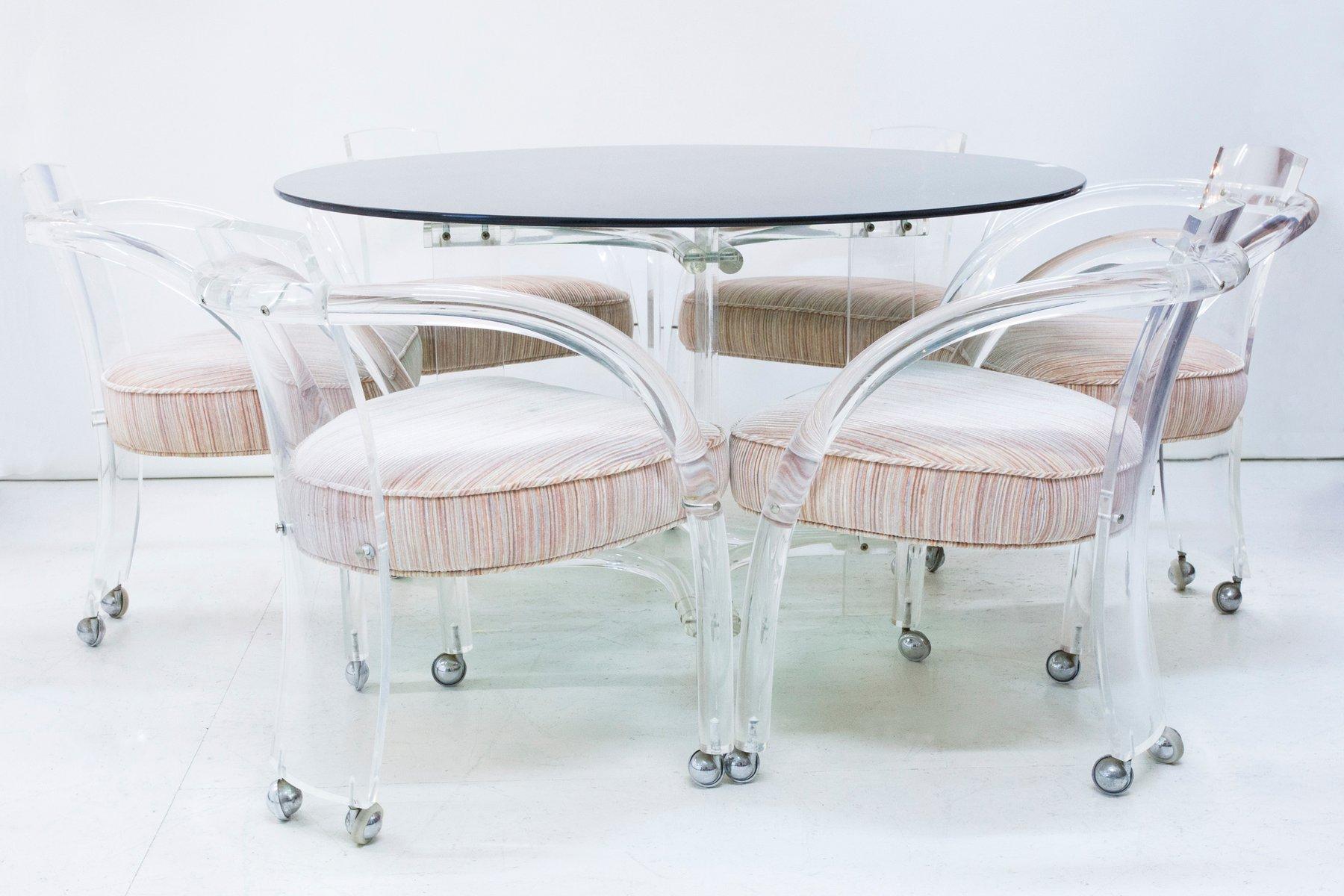 lucite esstisch 6 st hle von charles hollis jones 1960er bei pamono kaufen. Black Bedroom Furniture Sets. Home Design Ideas