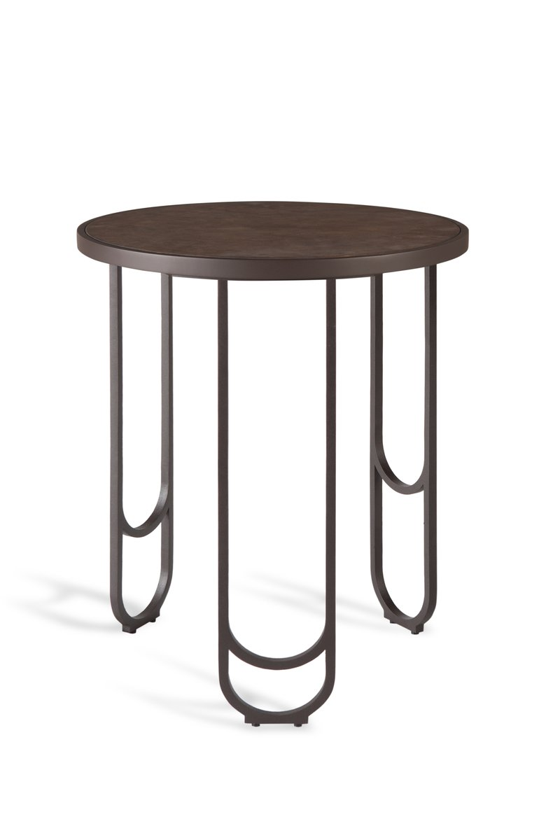 su 50 leather textured side table in brown by 15 west studio - Leather Side Tables