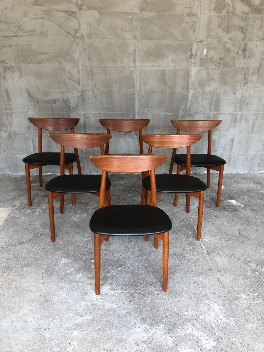 d nische teak st hle von harry ostergaard 1960er 6er set bei pamono kaufen. Black Bedroom Furniture Sets. Home Design Ideas