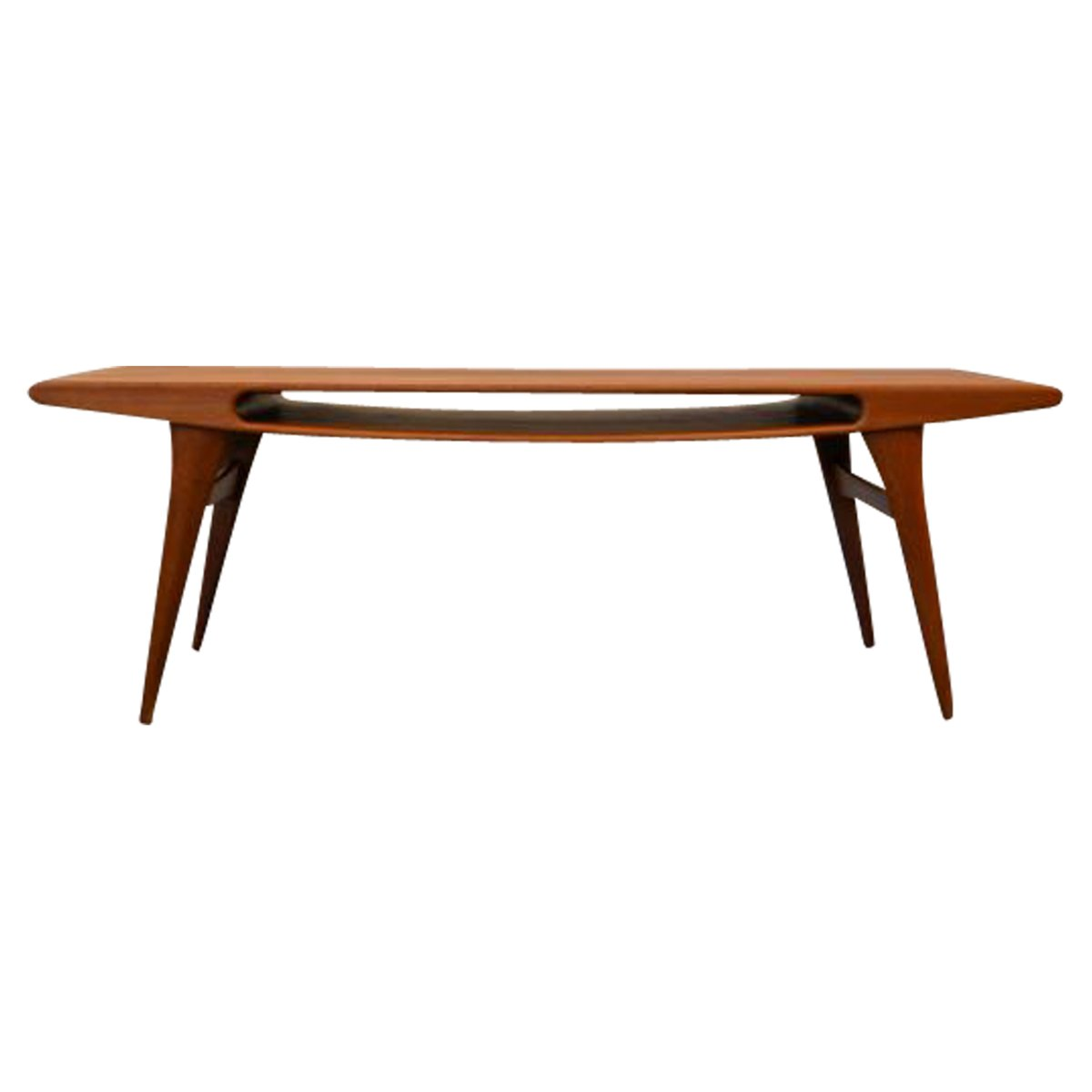 Vintage Danish Teak Coffee Table With Smile Opening For