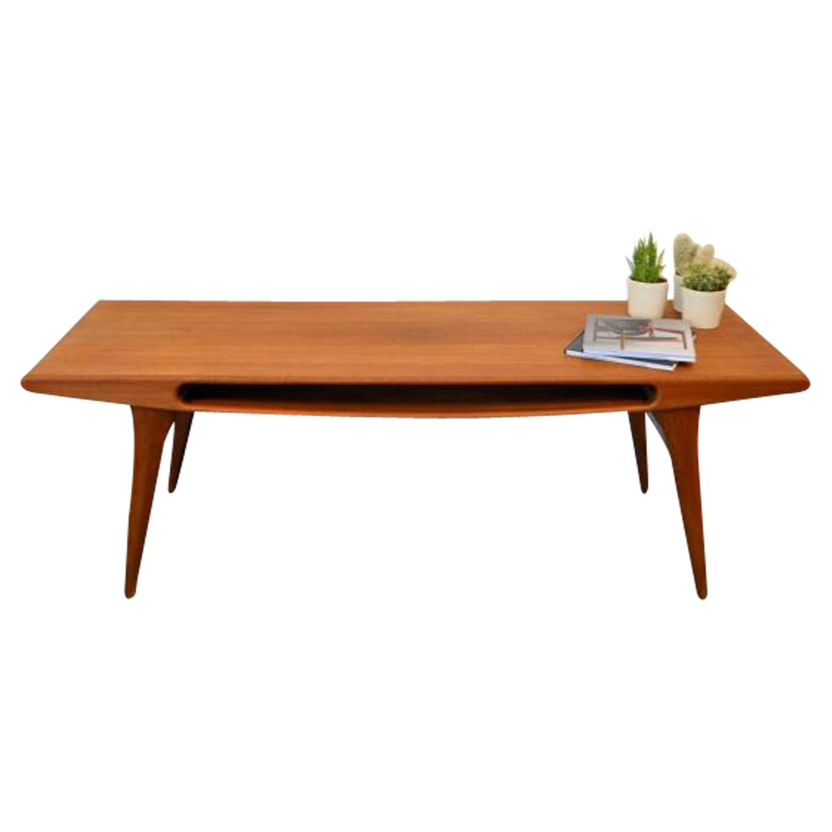 Vintage Teak Coffee Tables: Vintage Danish Teak Coffee Table With Smile Opening For