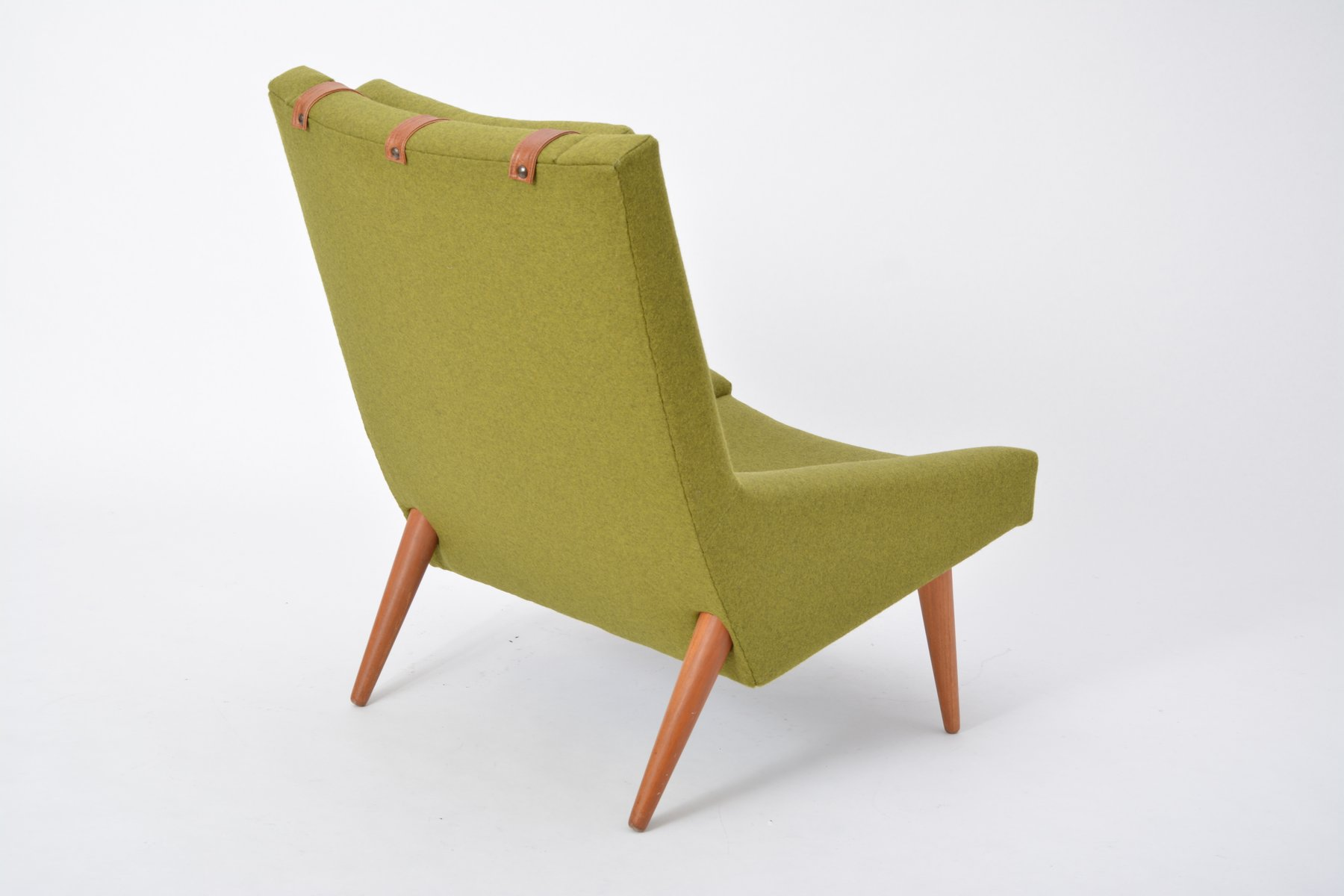 Vintage Highback Green Lounge Chair By Illum Wikkelso For