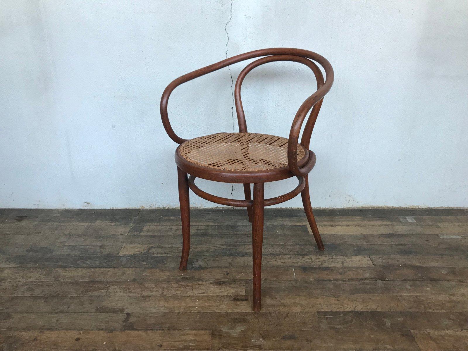 Antiker österreichischer Sessel aus Bugholz & Schilfrohr von Jacob & J...