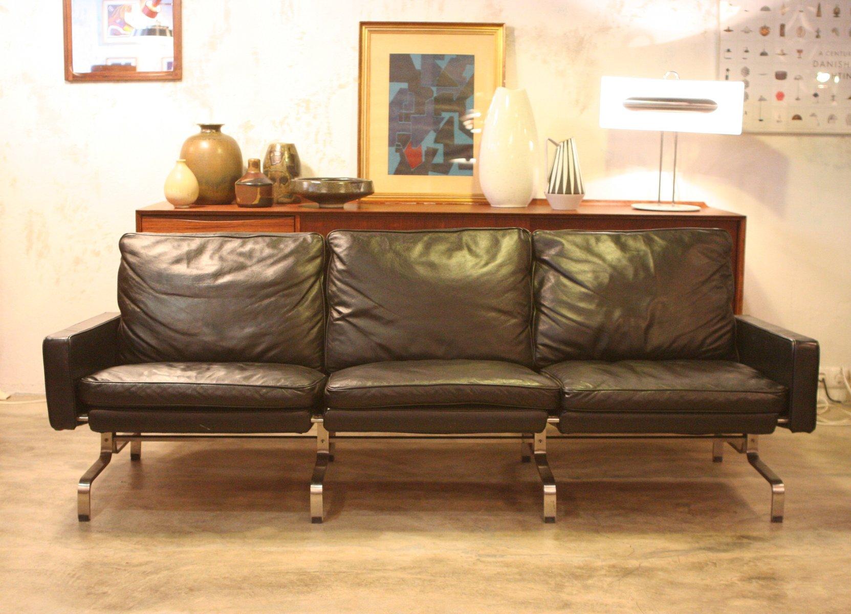 Mid-Century 3-Sitzer Sofa aus Leder