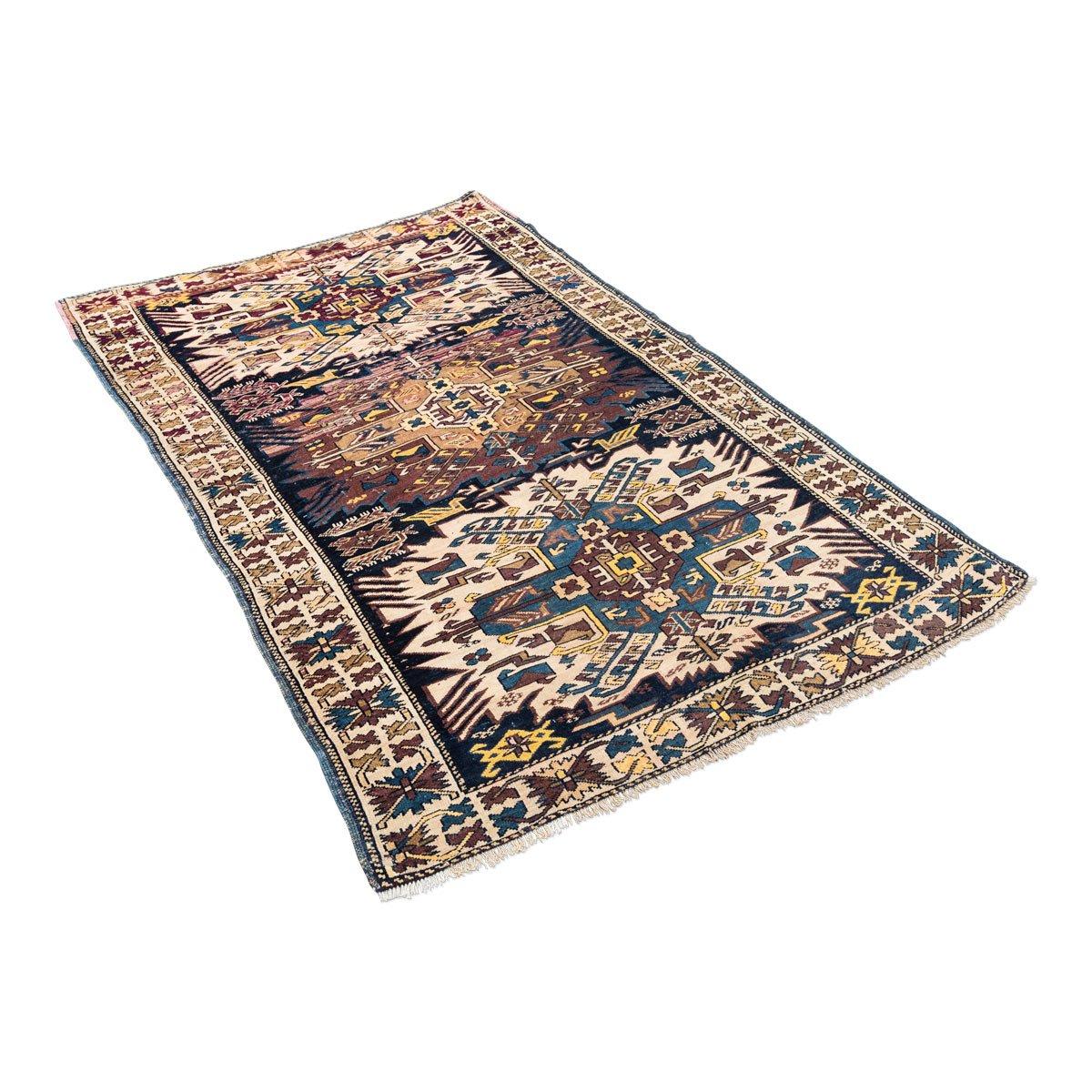 antiker kasachischer shirvan teppich in blau mit adler bei pamono kaufen. Black Bedroom Furniture Sets. Home Design Ideas