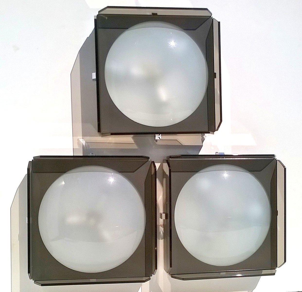 Glas Wandlampen von Veca, 1960er, 3er Set