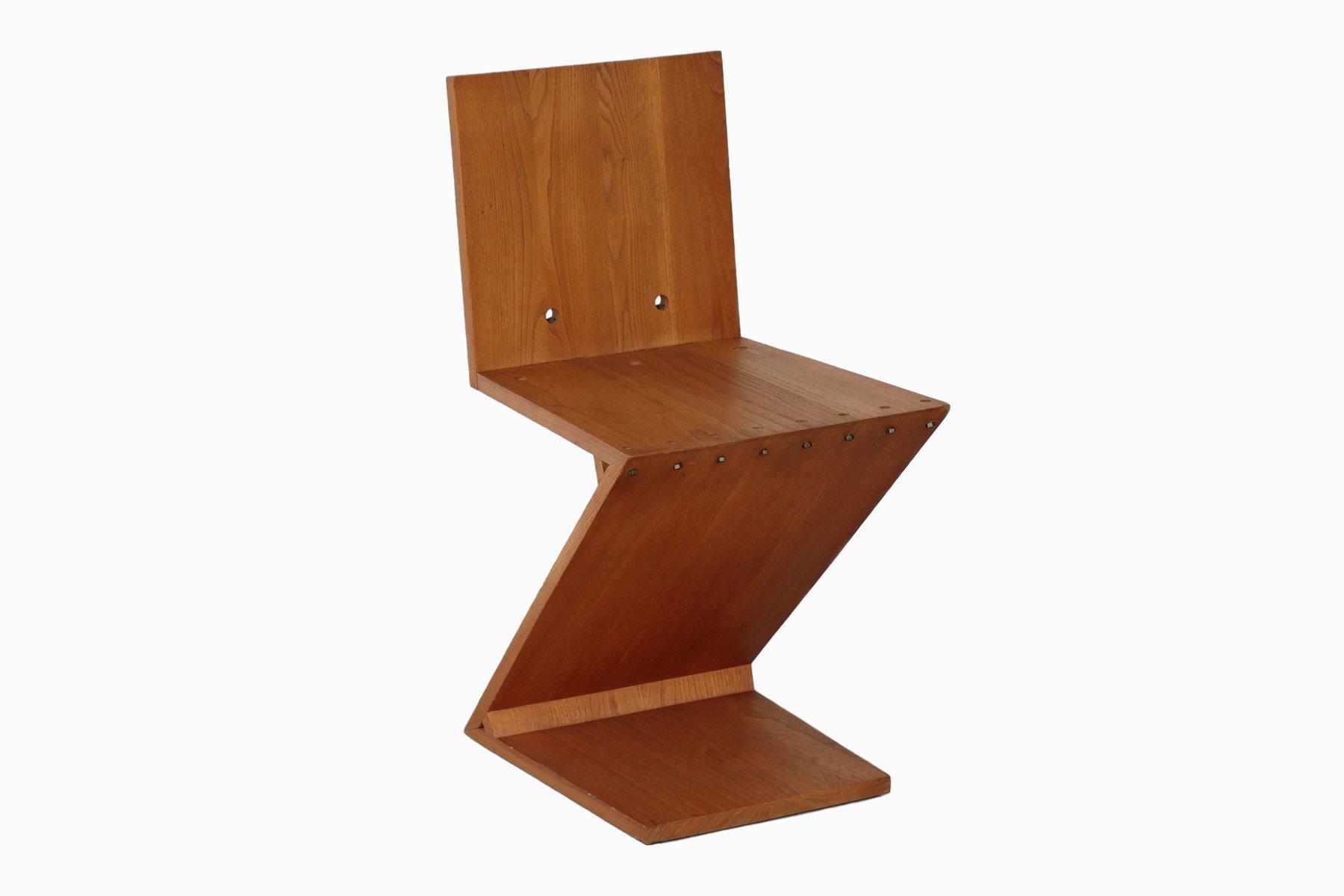 chaise zig zag par gerrit rietveld en vente sur pamono. Black Bedroom Furniture Sets. Home Design Ideas