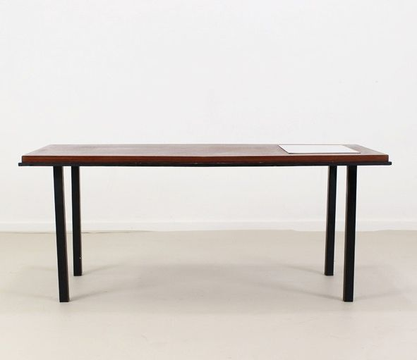 Vintage Belgian Coffee Table With White Formica Inlay 1965