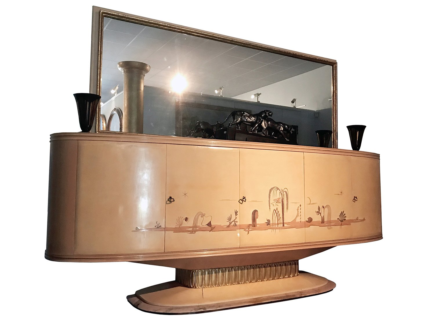 Italian Art Deco Sideboard With Mirror From Galleria Mobili D Arte