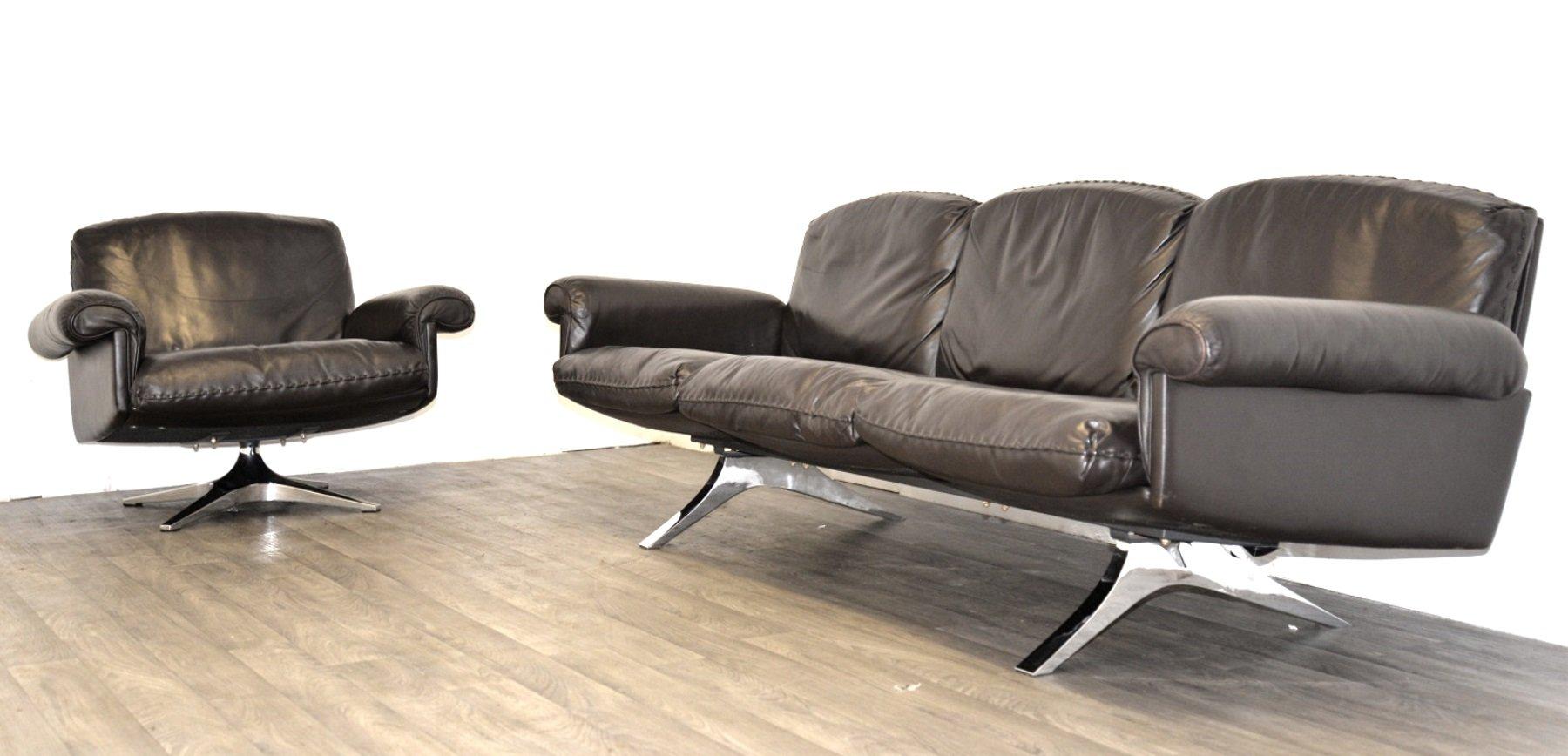 Schweizer Vintage DS 31 Drei-Sitzer Sofa und Drehsessel von de Sede, 1...