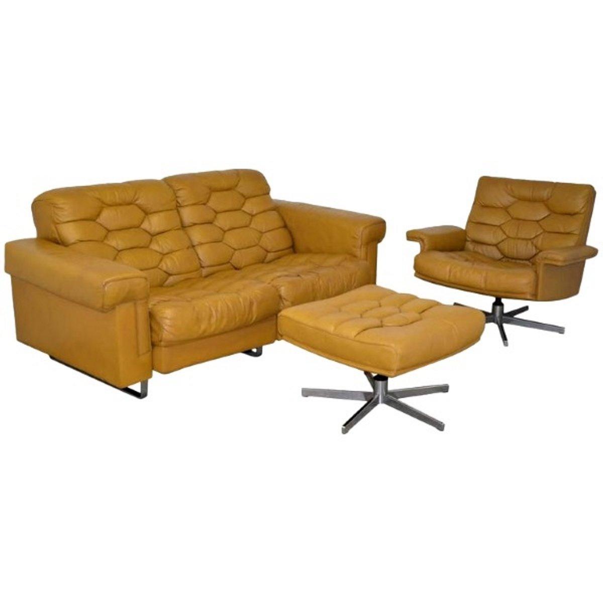 Vintage DS-P Zwei-Sitzer Sofa Set aus Cognacfarbenem Leder von de Sede...