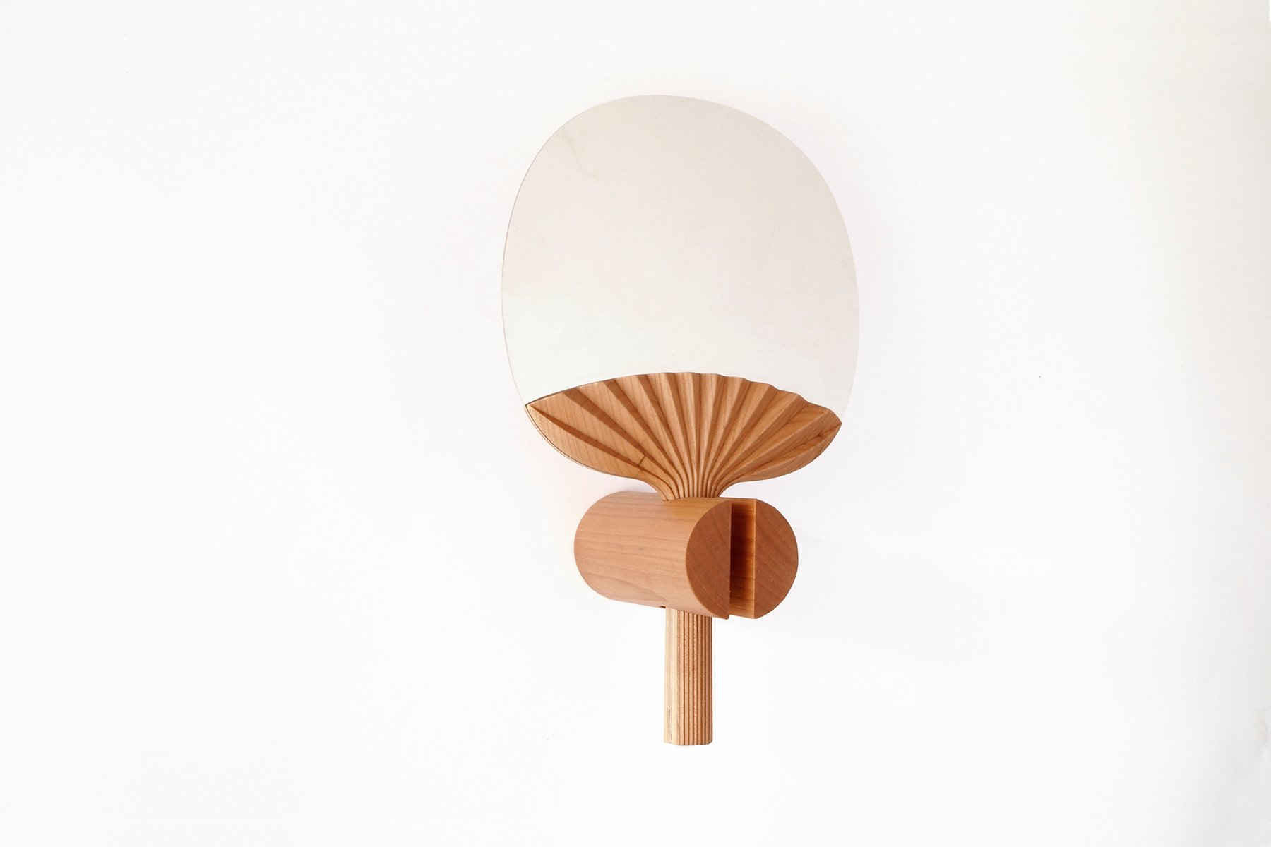 Selfportrait Wall Mirror In Natural Cherry Wood By Studio Lido For Portego