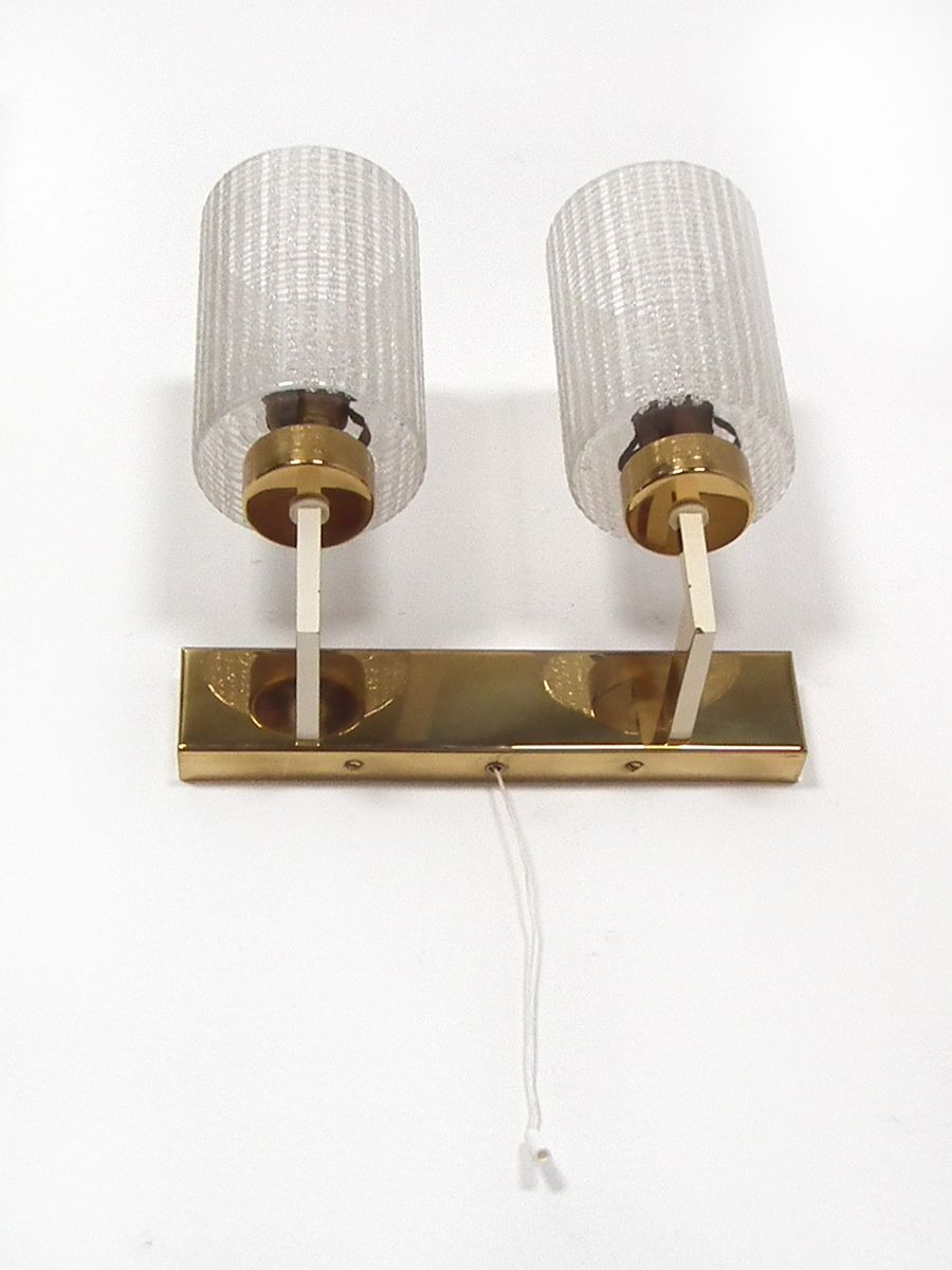 Mid century glass brass wall lights set of 3 for sale at pamono mid century glass brass wall lights set of 3 aloadofball Images