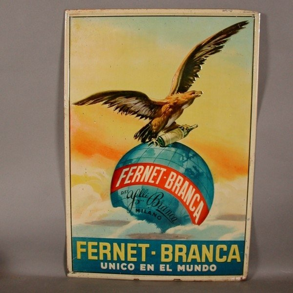 panneau publicitaire fernet branca vintage espagne 1910s en vente sur pamono. Black Bedroom Furniture Sets. Home Design Ideas