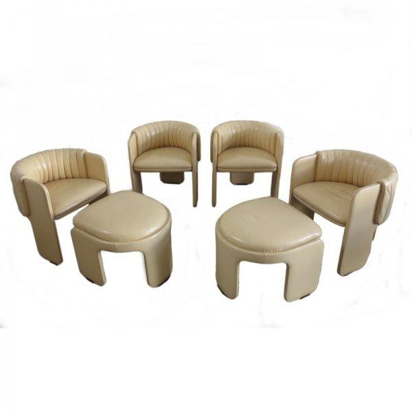 Vintage Sessel mit Hockern von Poltrona Frau, 1970er, 6er Set