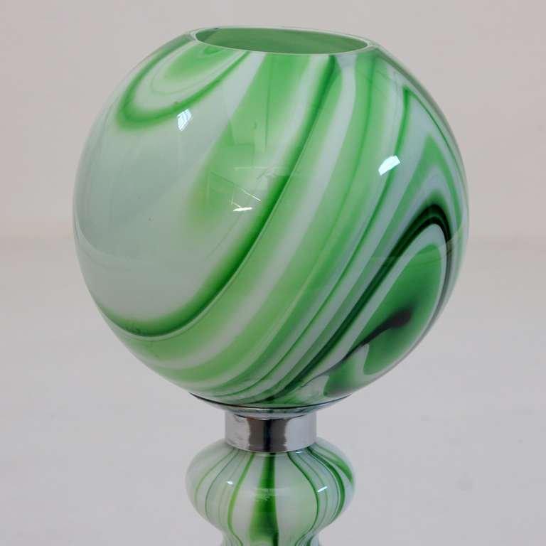 gr n marmorierte tischleuchte aus glas von carlo moretti 1970er bei pamono kaufen. Black Bedroom Furniture Sets. Home Design Ideas