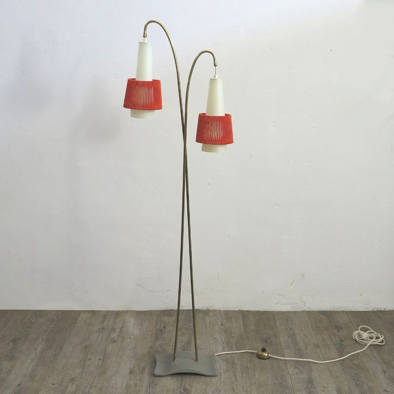 Zweiarmige Vintage Stehlampe, 1950er