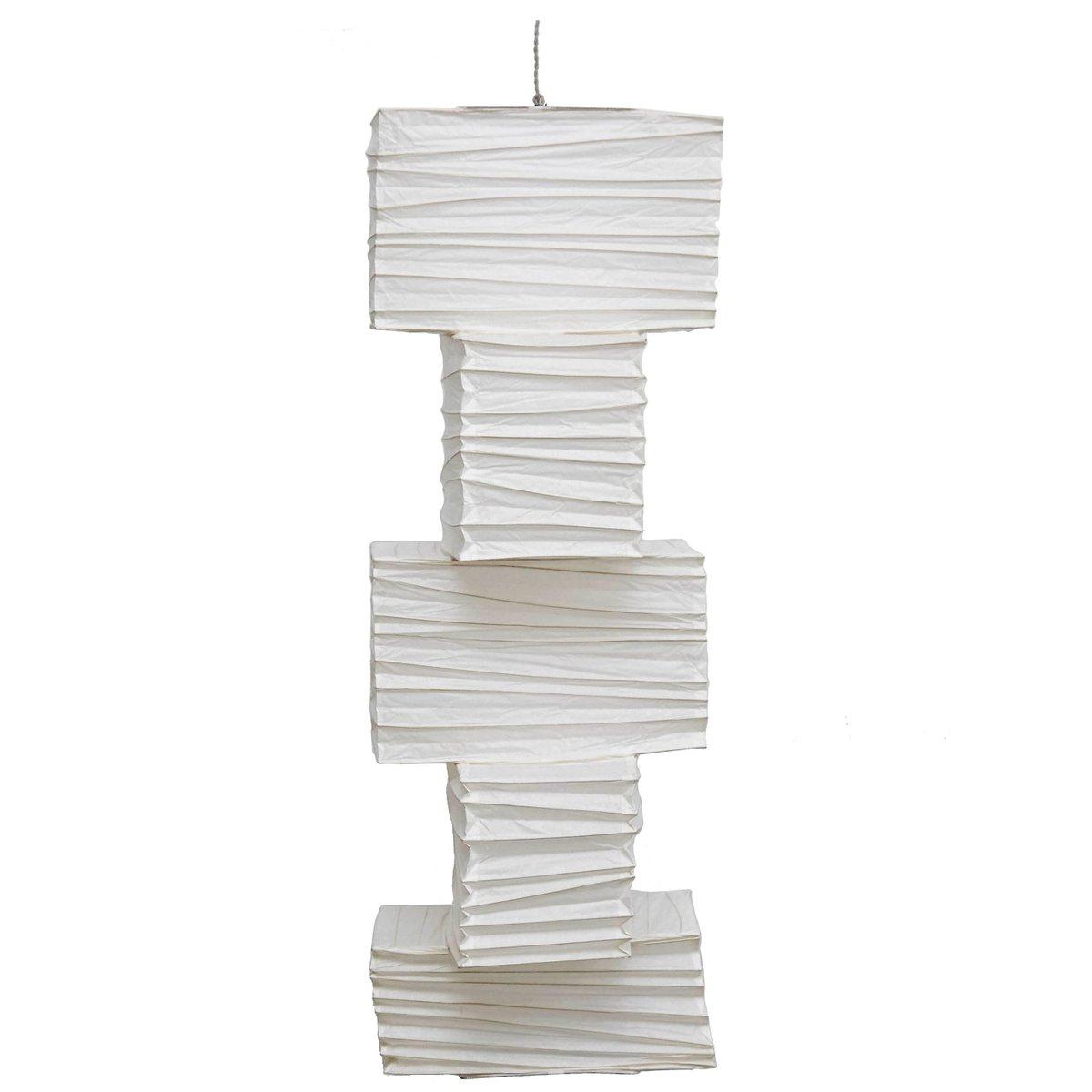 Amerikanische Deckenlampe aus geriffeltem Washi Papier, 1950er
