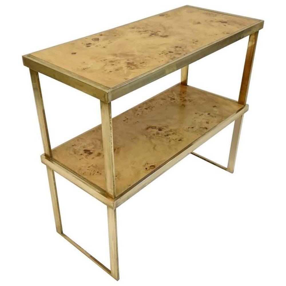 Vintage Tische aus Wurzelholz & Messing, 2er Set
